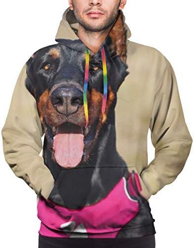 メンズ ドーベルマン プルオーバー 3Dプリント トップス 長袖 フーディ スウェット ポケット付き カジュアル 人気 おしゃれ 贈り物