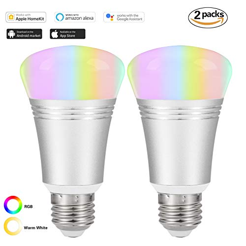 Cheap Smart WI-FI LED Light Bulb Works with Alexa and Google Assistant Lighting Lamp for Home Indoor Outdoor Remote Control,RGB Color,Warm White Color,No Hub Required,7W (YW002-2 Pack)