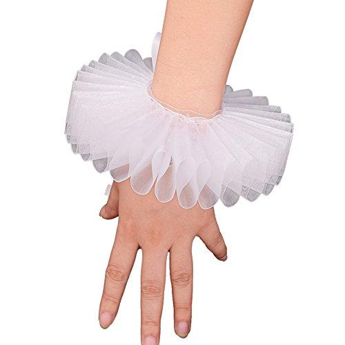 GRACEART Elizabethan Wrist Ruffs Ruffled Cuff Clown Arm Bands 1 Piece White Cuff]()