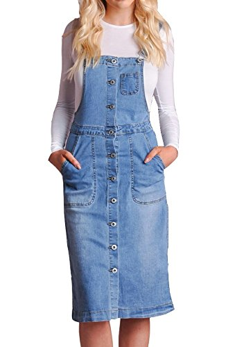 0d38a4ae71e Lily s Boutique Womens Retro Pinafore Dress Dungaree Denim Midi Dress Front  Pocket Buttons Down