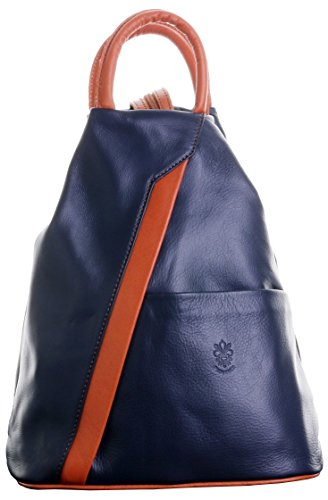 Napa Soft Bag Bag Includes Navy Italian Backpack Sacchi® Shoulder Storage amp; Handle Top Primo Protective Branded Leather Rucksack Tan 48wqEaxt