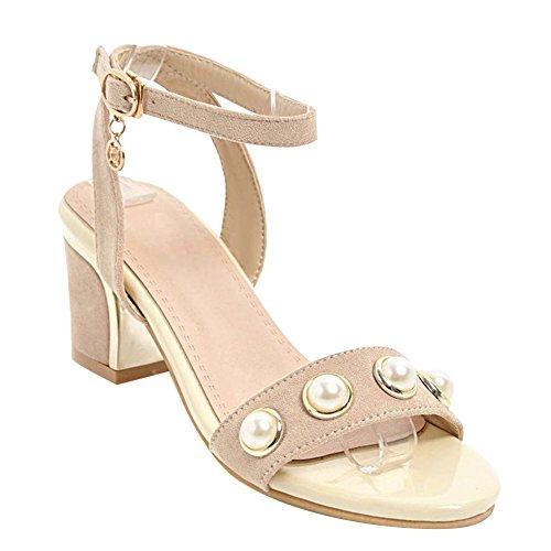 Carolbar Women's Grace Sweet Beaded Mid Heel Ankle Strap Sandals Beige jNb6HMMEm