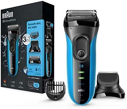 Braun Series 3 Proskin Shave&Style 3010BT, Afeitadora Eléctrica 3 en 1 Wet & Dry para Hombre con Recortadora de Precisión para la Barba y 5 Peines, Recargable e ...