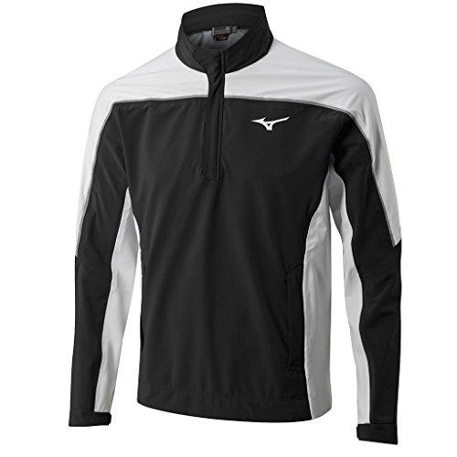 (Mizuno Waterproof Pro 1/4 Zip Rain Mens Golf Jacket Black/White Large)