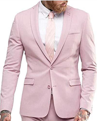 Men's 2 Pieces Silm Fit Pink Suits Peak Lapel Wedding Suits for Men Groom Tuxedos Prom Suit 38 Chest / 32 Waist -