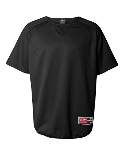 Rawlings Adult Flatback Mesh Short Sleeve Fleece Pullover (Black) (S) Rawlings Black Home Plate