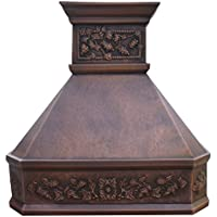 Sinda Copper Kitchen Range Hood with High Airflow Centrifugal Blower, Includes SUS 304 Liner and Baffle Filter, High CFM Vent Motor, Wall/Island/Ceiling Mount, Width 30/36/42/48 in (W48xH48Wall)