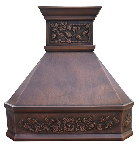 Copper Range Hood with Stack Hand Embossed Decorative Grape Pattern Wrapped Around Comes with Stainless Steel Vent ()
