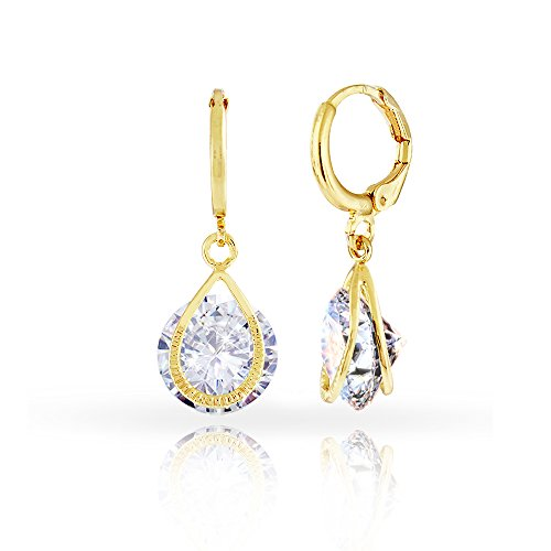 Womens Fancy 18K Gold Plated Drop Earrings with Floating 10mm Cubic Zirconia CZ (Diamond)