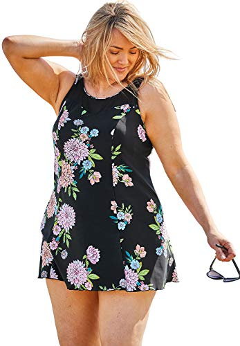 Swimsuits For All Women's Plus Size Mesh-Trim Swimdress with Tummy Control - Black Pretty Floral, 24 ()