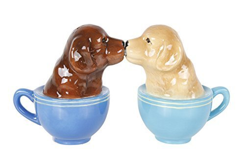 Pacific Giftware Kissing Labrador Puppies in Tea Cup Salt and Pepper Shaker Set Cute Labradors Tabletop Decoration SP Set
