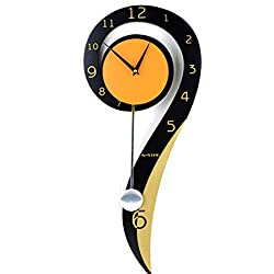 QUANOVO Swinging Wall Clock, Wooden Wall Clock Silent Decorative Wood Clock Battery Operatedfor Living Room Kitchen & Home Décor 20 Inches