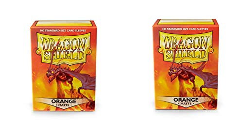 (2 Packs Dragon Shield Matte Orange Standard Size 100 ct Card Sleeves Value Bundle!)
