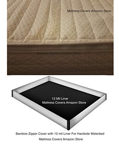 Queen Bamboo Zipper Water Mattress cover with 12 mil Pro Max Waterbed Safety Liner from Mattress Cover, Innomax, Premium