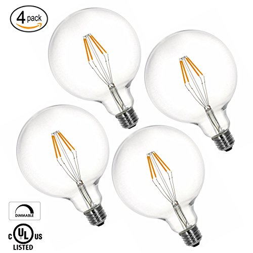 (LytheLED™ (4-PACK) LED G40 Globe Vintage Filament Bulb, 4W (40W Replacement) 2700K Warm White, 440 Lumens, (E26) Medium Base, Dimmable, UL-Listed)