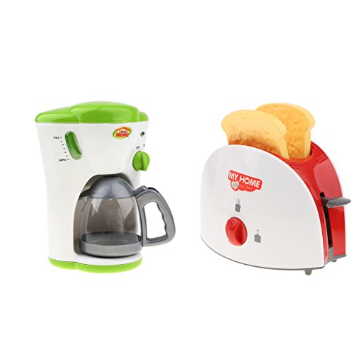 Plastic Simulation Home Appliance Kitchen Play Bread Maker + Coffee Machine Set Kids/Baby Early Learning Toy Birthday Gift