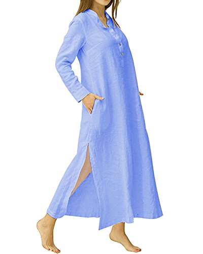 Long Sleeve Caftan - HIUPEB Women's Plus Size Long Sleeve Cotton Linen Split Kaftan Maxi Dress Blue XL
