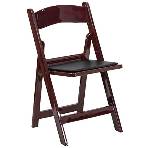- HERCULES Series 1000 lb. Capacity Red Mahogany Resin Folding Chair with Black Vinyl Padded Seat