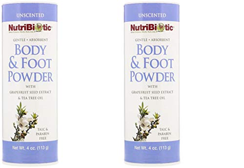 - NutriBiotic Body & Foot Unscented Powder (Pack of 2) with Tea Tree Leaf Oil, Corn Starch, Sodium Bicarbonate and Grapefruit Seed Extract, 4 oz.