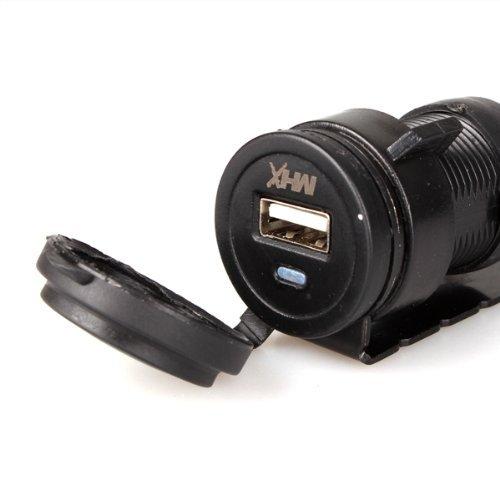 Caricabatterie Moto USB Accendisigari 12V Nero Impermeabile
