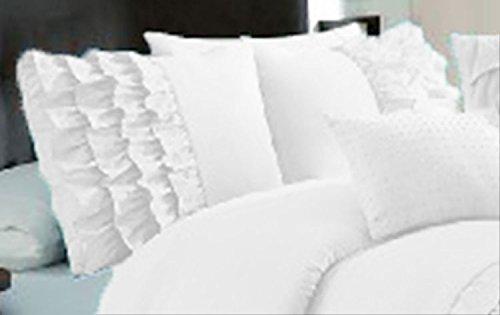 Bedding Empire Ultra Soft Solid Half Ruffle Pillow Shams Pair 100% Egyptian Cotton 600 Thread Count (2 piece set) Euro White (Sham Ruffled European)