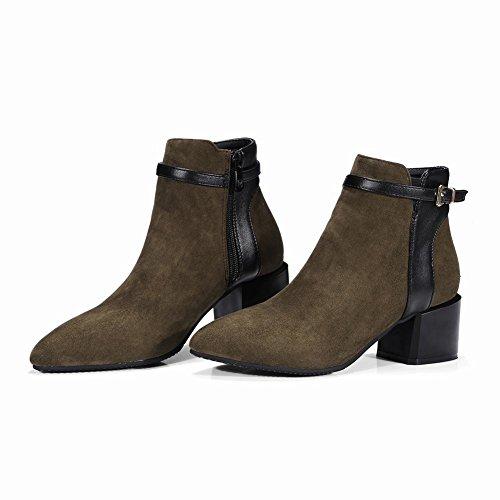 Mee Shoes Damen chunky heels Reißverschluss kurzschaft Stiefel Grün