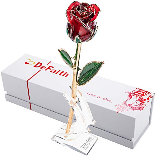 DEFAITH Real Rose 24K Gold Dipped, Forever Gifts for Her Valentines Day Anniversary Wedding and Proposal, Attractive Luster and Natural Shape - Red with Moon Stand