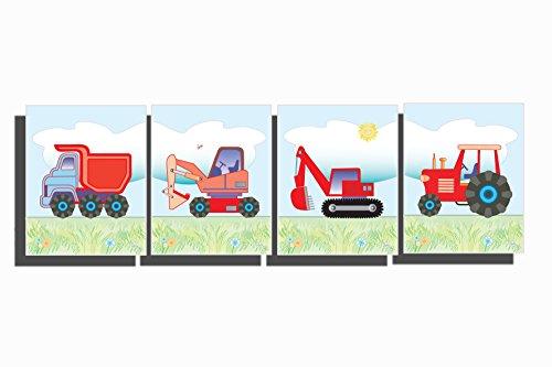 Boy's Room Wall Art Tractor Truck Nursery Contruction Farm Decor Digger Bulldozer Transport Pictures 8 x 10 inch (Set of 4 Unframed Prints)