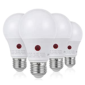 DEWENWILS 4-Pack Dusk to Dawn Light Bulb Led Outdoor Lighting, Smart Automatic On/Off Photocell Sensor A19 E26 Porch…