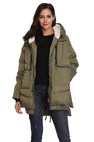Shanghai Bund Women's Thickened Down Jacket with Hood Winter Warm Hooded Parka Coat Olive