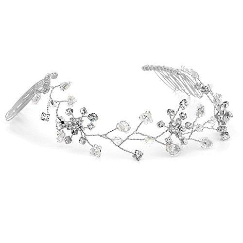 Mariell Genuine Crystal Bridal Hair Vine - Top-Selling Flexible Wedding Headpiece with (Genuine European Crystal)