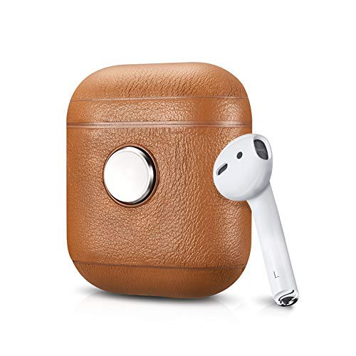ZenPod - Spinning Case for Apple AirPods, Air Vinyl Design, Fidget Spinner Leather Case for AirPods (Brown)