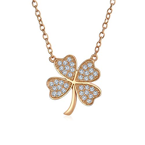 Shamrock Pave CZ Lucky Charm Four Leaf Clover Pendant Necklace For Teen For Women Rose Gold Plated 925 Sterling Silver