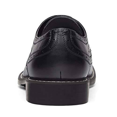 GM GOLAIMAN Men's Leather Oxford Dress Shoes Formal Wing-Tip Lace Up Derby Shoes Black 11