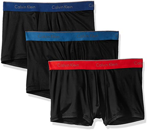 Calvin Klein Men's Underwear Microfiber Stretch 3 Pack Trunk, Black/Capsize/Downpour/Manic red, M
