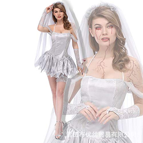 Simmia Halloween Costumes New Halloween COS Costume Ghost Bride Dry Corpse Demon Role-Playing Costume, 1861, L -