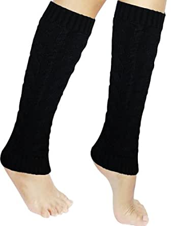 Dahlia Women's Cable Knit Leg Warmers - Black, Medium