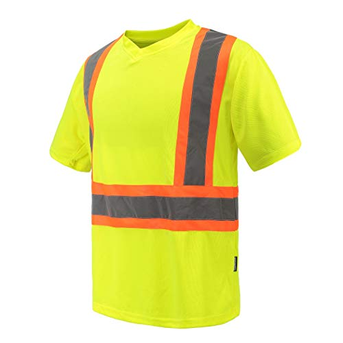 Reflective Safety Tee, A-SAFETY, High Visibility Workwear Quick Dry Short Sleeve Shirt Yellow, X-Large
