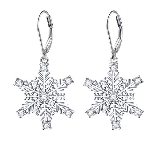 S925 Sterling Silver Snowflake Dangle Drop Leverback Clasp Earrings for Women ()