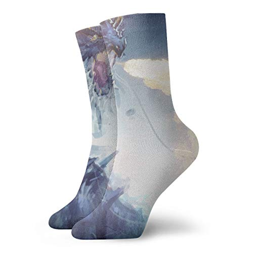 Dragon Breathing T-shirt Fire (WEEDKEYCAT Fire Breathing Dragon Painting Adult Short Socks Cotton Sports Socks for Mens Womens Yoga Hiking Cycling Running Soccer Sports)
