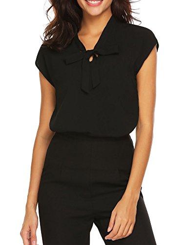 ACEVOG Womens Bow Tie Neck Cap Sleeve Casual Work Chiffon Blouse Tops, Black-cap Sleeve, XX-Large