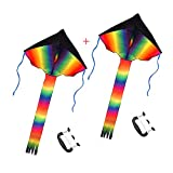 SINGARE 2 Pack Rainbow Delta Kite, Easy Flyer, Long Tail Huge Flyer, for Kids and Adults, One of The Best Outdoor Activities for Kids, with Line and Handle