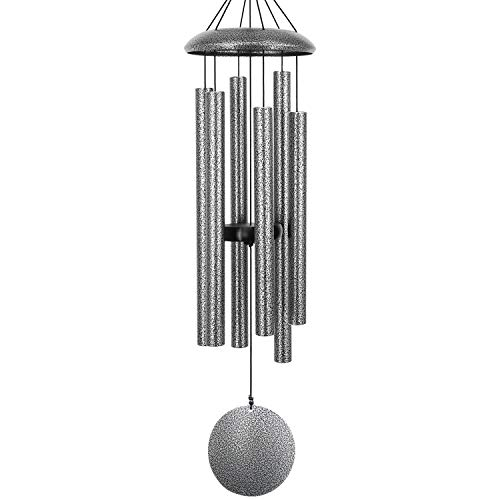 """Sympathy Wind Chimes Amazing Grace Large,36""""Memorial Wind Chimes with 6 Metal Tubes,Tuned Wind Chimes Outdoor Deep Tone for Garden Christmas Hanging Decor,Sympathy Gifts,Antique Silver(A Free Card)"""