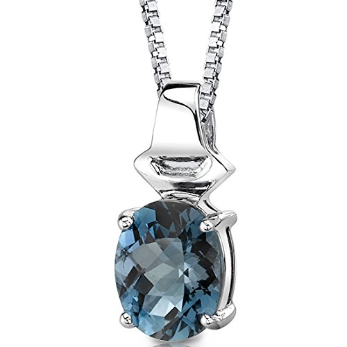 London Blue Topaz Pendant Necklace Sterling Silver Oval Shape 3.00 Carats