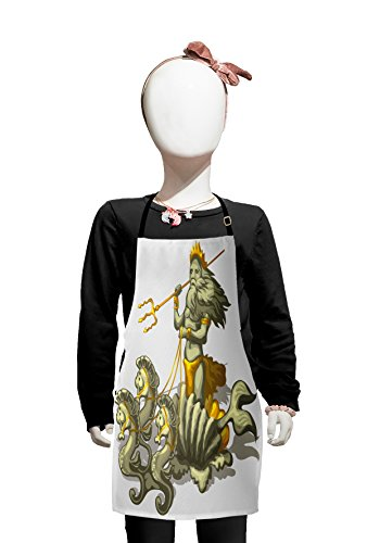 Lunarable Animal Kids Apron, Old Mythologic Character Triton in Shell with Seahorse Poseidon Greek Figure, Boys Girls Apron Bib with Adjustable Ties for Cooking Baking and Painting, Grey Lilac Yellow ()