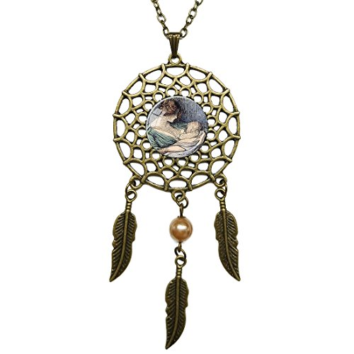 Dream Catcher Necklace Brown Nursing Sage Glass Pendant Bronze Long Chain Dangling Feather Charms Jewelry for Women