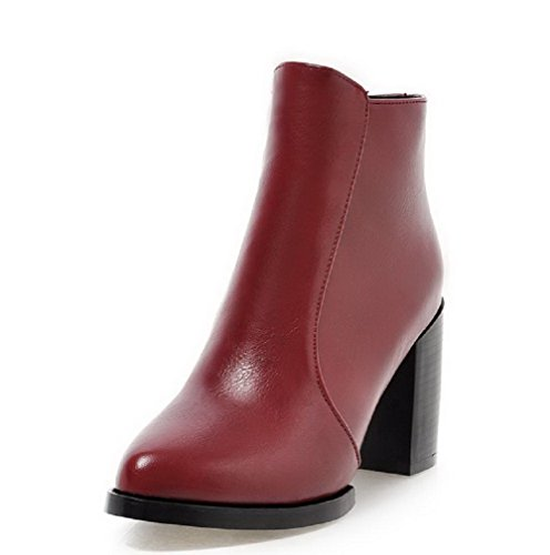 Allhqfashion Women's Low Top Solid Zipper Pointed Closed Toe High Heels Boots Claret