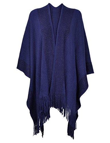 (ZLYC Women's Shawl Golden Trim Knit Blanket Wrap Fringe Poncho Coat Cardigan (Navy))