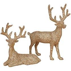 14.5 inch High Set of 2 Gold Rhinestone Deer - Christmas Reindeer in Glittered Rhinestone