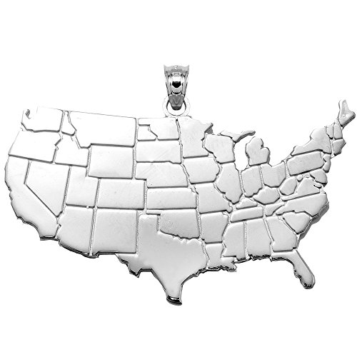 10 ct 471/1000 United States Map Or Blanc- Pendentif